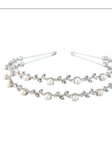 Cerchietto doppio di Cristalli e Perle